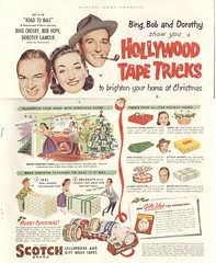 The Road to Bali Is Paved With Scotch Tape (Cowtools) Tags: christmas vintage advertising ephemera bingcrosby illo scotchtape bobhope dorothylamour