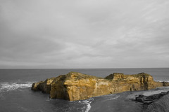 Cliff (~~StuArt~~) Tags: sea sky cliff clouds photoshop coast rocks waves northumberland layers canoneos400d