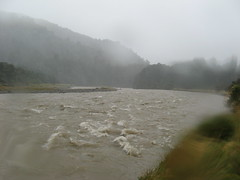 The flooded Waiohine River