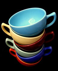 my cups runneth over (Az~Kate) Tags: colorful ceramics tea cups fiestaware californiapottery mywinners