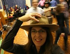 Day #083 - Cow Girl for the Night (sosij) Tags: selfportrait 365 cowboyhat day83 barndance yeehar ceilidhdance