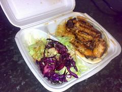 Large chicken kebab with all accompaniments from Topkapi kebab shop, Edinburgh
