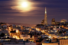 Sugar (jellis629) Tags: moon skyline night san francisco pyramid moonlight transamerica twighlight sfchronicle96hrs mywinners