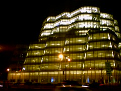 Nighttime Gehry IAC Building in New York City
