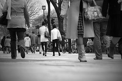 walkathon (jessleecuizon) Tags: street winter blackandwhite bw feet japan shopping tokyo shoes legs walk ground clothes busy harajuku bags yoyogi walkathon sonydscr1 japaninbw
