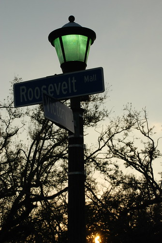 standing on the corner of Victory and Roosevelt