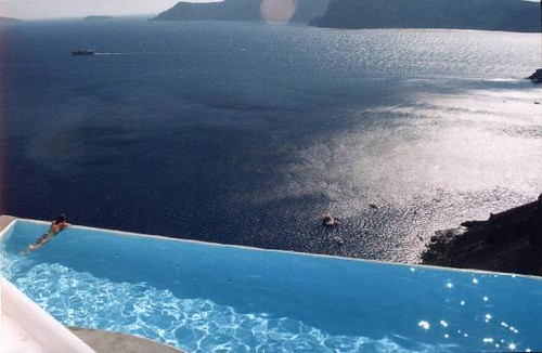 our pool in santorini
