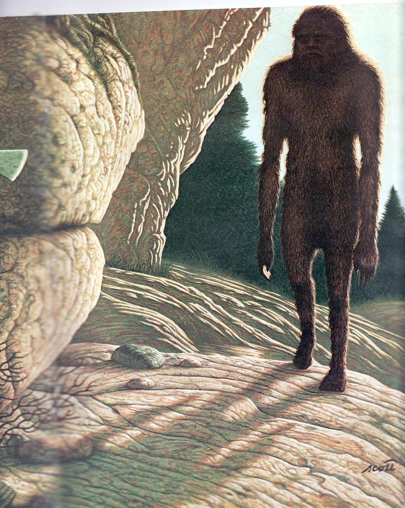 A painting by Greg Scott for the Science Digest, August 1981. Article: Wild Men of China by Audrey Topping, illustrating an encounter with a Wild Man.