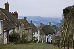 Gold Hill (Joe Dunckley) Tags: uk houses england fog architecture dorset shaftesbury goldhill blackmorevale cranbornechase