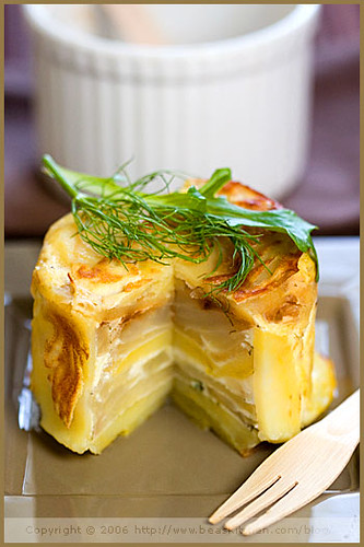 Potato, Fennel, Pear and Fourme d'Ambert Timbale