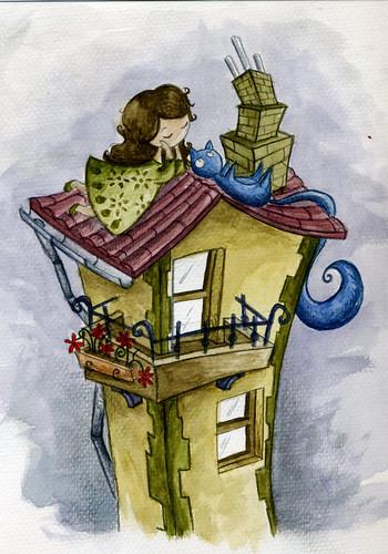 niña y gato en el tejado
