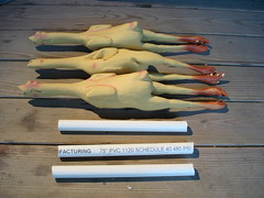 Juggling Rubber Chickens - cut pipes