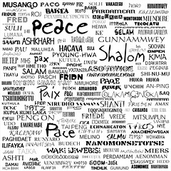 Peace in Many Languages Black and White