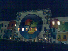 Projection of the Microsoft logo on the façade of the ETH (Federal polytechnic school) in Zurich