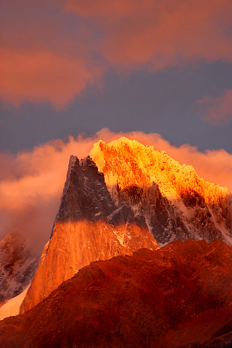 Les Drus at sunset