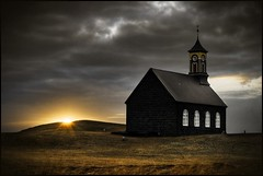 God's house by the sunset ... (asmundur) Tags: sunset sun church clouds golden iceland aperture bravo searchthebest quality explore hdr hvalsneskirkja kirkja beautifulearth sandgerdi hvalsnes 3exp abigfave sandgerði theverybestofflickr goldenaperture