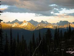 Gold Range (storm light) Tags: trees sunset shadow mountains clouds forest dark bc peaks alpenglow optio43wr monasheemountains goldrange