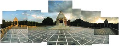 Praying together (Aditya Rao.) Tags: lighting sunset sky panorama india architecture campus temple shrine university perspective courtyard series bits saraswati kavi mandir rajasthan birla rao pilani panograph