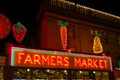 Fruity Decor (cliomichelle) Tags: seattle neon pikeplacemarket publicmarket