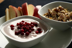 Healthy Breakfast (Elina Innanen) Tags: morning food apple breakfast vegan healthy walnut organic lingonberry muesli soygurt
