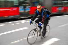 Mohican cycle courier (jeremyhughes) Tags: motion blur london speed nikon cyclist sigma messenger courier panning cityoflondon mohican bendybus nikond40