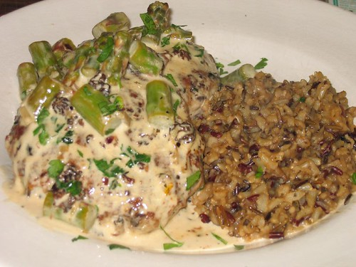turkey cakes smothered in morel cream sauce