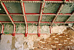 (deatonstreet) Tags: red urban brick green peeling paint kentucky ceiling louisville mansion exploration ouerbacker