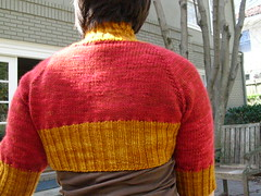 Two tone back view. (stupid clever) Tags: shrug malabrigo glampyre stefaniejapel fittedknits twotoneshrug