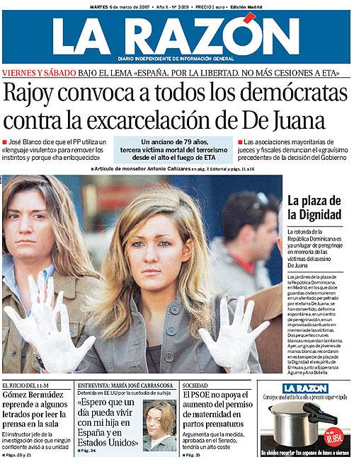 Portada de 'La Razón' - 06/03/2007