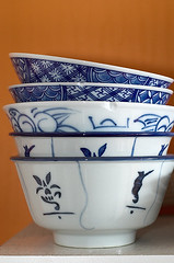 five Chinese bowls (L_) Tags: blue stilllife chinese dishes bowls utatacollection