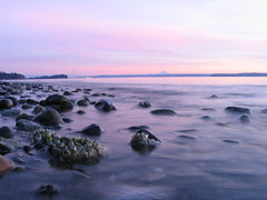 IMG_0005 (Mike Emigh) Tags: ocean pink sunset beach water coast twilight rocks surf purple smooth peaceful washingtonstate tulalipreservation