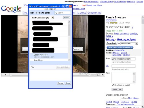 Google Mail ContactPicker