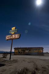 High Vista Cafe (Lost America) Tags: lightpainting sign night cafe neon desert diner fullmoon timeexposure highdesert mojave moonlight antelopevalley altavista highvista