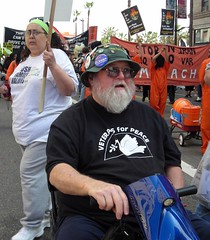 Veteran for Peace (Twitchietai) Tags: man hat beard losangeles peace buttons dove wheelchair protest demonstration hollywood sombrero veteran peacemarch march17th tartyshots