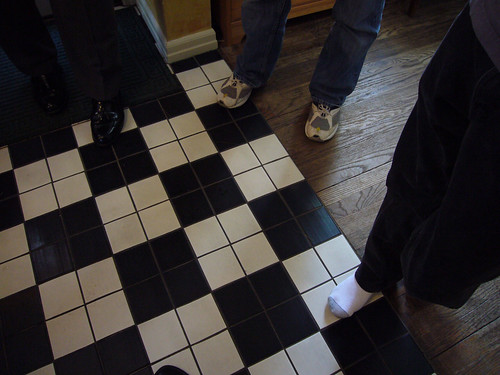 feet in the kitchen