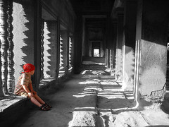 Taking a rest (DougButcher) Tags: blackandwhite color temple mono ancient ruins cambodge cambodia southeastasia khmer angkorwat temples angkor selectivecolour kampuchea