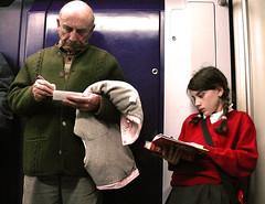 Abuelo y nieta (Javier Snchez.) Tags: madrid subway children couple child reader metro granfather fivestarsgallery javiekitela