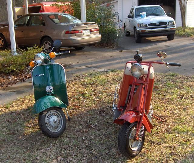 bucket vespa scooter toyota tacoma carport camry cushman