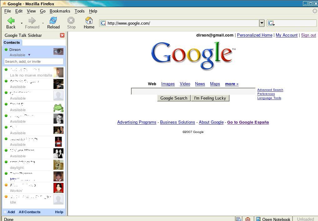 Google Talk, en todo momento en la barra lateral de Firefox