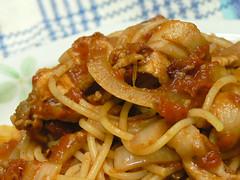 こんがり豚のトマトソーススパゲティ