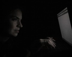 Peering at the laptop in the dark