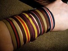 Dad's Watch Bands (Stewf) Tags: dad arm stripes bob 1980s multicolor watchband