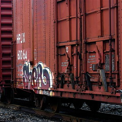 Painted Train [Sher]  (mightyquinninwky) Tags: train geotagged chains pod grafitti kentucky tag lexingtonkentucky tracks railway tags tagged rails boxcar graff pow graphiti sher boxcars gravel trainart slidingdoors paintedtrain railart steelwheels leestownroad 2on2 fayettecountykentucky 2on2featurepair centralkentucky liquidbomb thebluegrassstate paintedboxcar jasonpresser leestownviaduct geo:lat=38060075 geo:lon=84516036 11223344556677 trainsformyspacestation