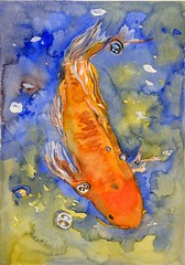 Dream of the Orange Fish (**Camilla**) Tags: blue orange fish water watercolor painting play small dream explore koi carp innerchild nofear oot surrenderdevotion flowoflife catchycolorsorangeblue visiblytalented