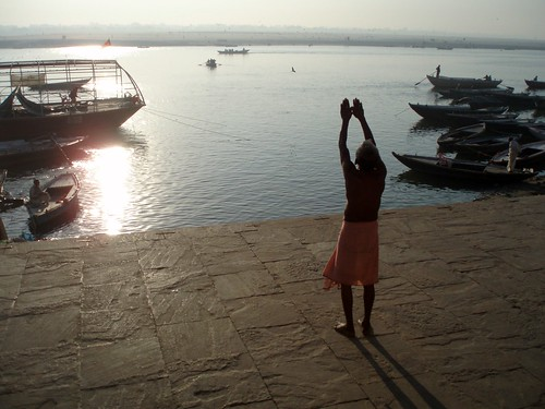 Yoga on varanasi ghat