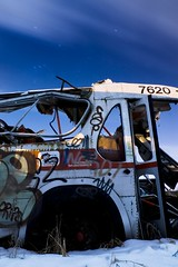 Bus Dump #1 (Ian David Blm) Tags: longexposure urban bus abandoned graveyard topv111 metal night crust topv555 topv333 rust publictransportation accident topv999 dump fullmoon nighttime mostinteresting moonlight topv777 forsaken scrap corrosion errosion octranspo idb