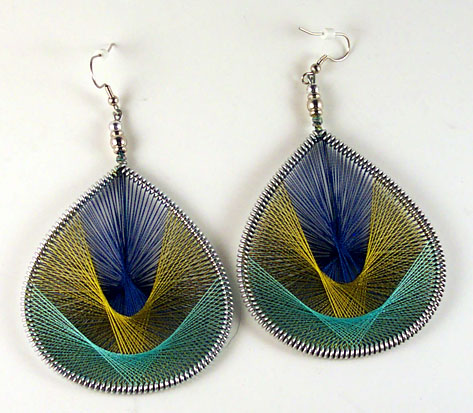 Earrings made from thread