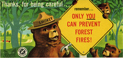 Smokey the Bear table sign