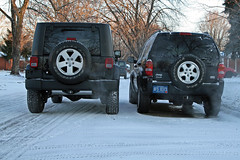 Comparing rear ends (webcompanion) Tags: liberty back jeep butt unlimited jk rearend 2007 wrangler