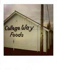 College Way Foods ~ Mount Vernon, WA ~ January 22, 2007 (brettbigb) Tags: county morning sky food color college beer vintage way polaroid foods washington mt wine random jan january pop chips gas mount powerlines wash 600 co wa junkfood skagit polaroids sod